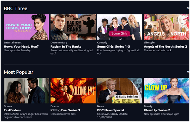 BBC iPlayer Channels and Shows