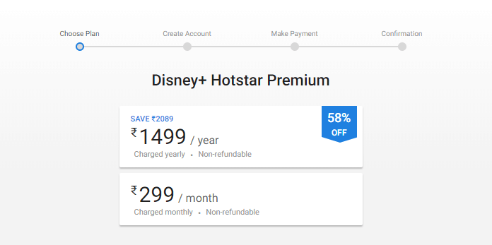 Hotstar Premium comes in two packages, monthly package and yearly package