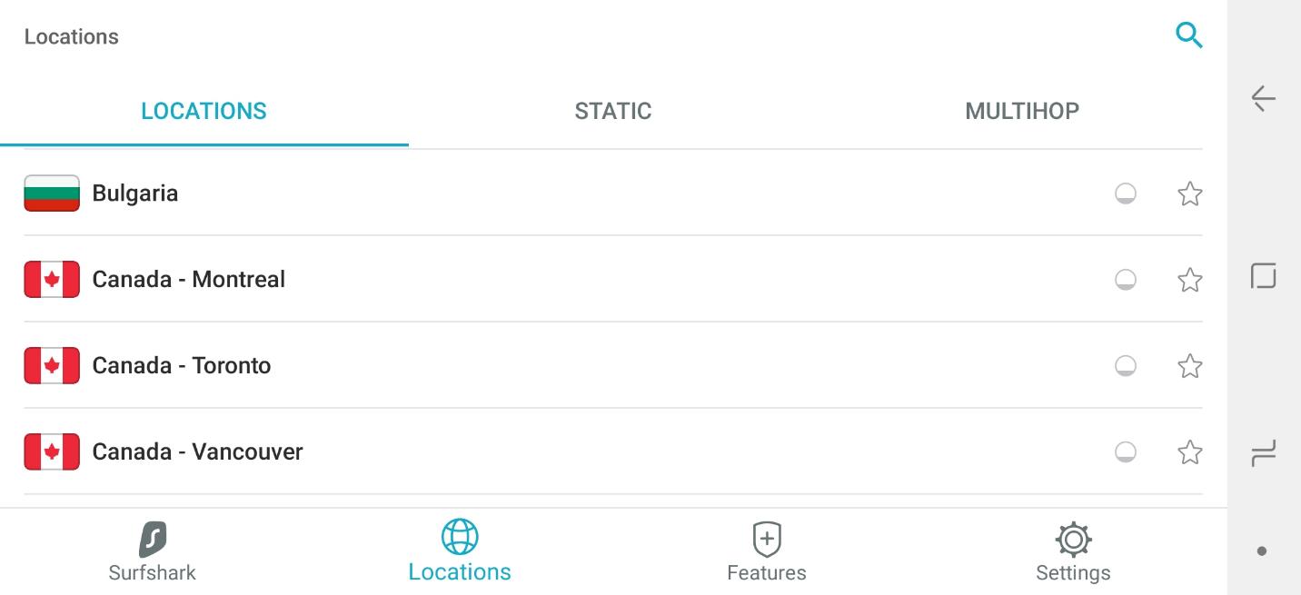 Surfshark VPN app dashboard